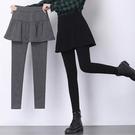 假兩件打底褲裙女高腰外穿秋冬加絨加厚大碼胖mm顯瘦保暖小腳踩腳 源治良品
