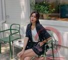 小西服兩件套裝S-XL919#春夏新款網紅chic雙排扣系帶格子西裝韓版短褲套裝女【風之海】