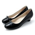 全真皮拼色蝴蝶結低跟鞋-黑色‧karine(MIT台灣製)