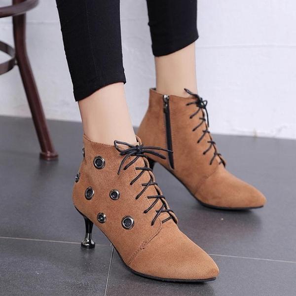 歐美秋冬款短靴女復古韓版馬丁靴女短靴尖頭鞋 萬客居
