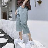 七分褲男破洞牛仔寬鬆夏季男生短褲韓版修身bf風潮流直筒褲子-ifashion
