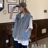 網紅牛仔馬甲春季新款牛仔外套女韓版寬鬆顯瘦bf無袖馬夾背心 「錢夫人小鋪」