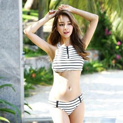 比基尼韓版拉鍊黑白條紋繞頸時尚背心分體比基尼泳裝【03A0208】
