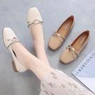 豆豆鞋 單鞋女平底防滑方頭奶奶鞋春季新款百搭軟底豆豆鞋淺口小皮鞋 阿薩布魯