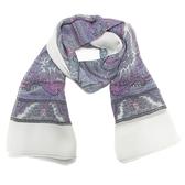 YVES SAINT LAURENT YSL 聖羅蘭 粉紫色變形蟲圖案方形大絲巾 披巾 120x120