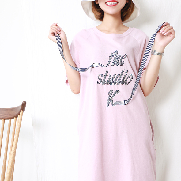 [超豐國際]W   22  字母刺繡 飄帶 彈力棉 連衣裙