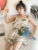 冰絲睡衣 睡衣女夏冰絲吊帶兩件套裝正韓清新甜美可愛學生薄款真絲綢家居服