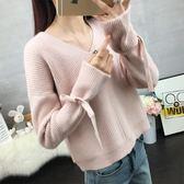 chic早秋小清新毛衣女甜美純色2018新款套頭寬鬆V領短款針織衫