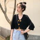 七分袖上衣 新款夏季韓版設計感小眾短袖上衣學生V領短款T恤女裝潮 遇見初晴