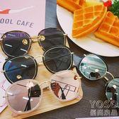 墨鏡 韓版創意新款夏季女墨鏡個性太陽眼鏡大框瘦臉時尚潮流金屬框墨鏡  『優尚良品』
