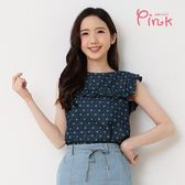 PINK*幸運草印花荷葉背心上衣 M4204AQ