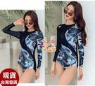 草魚妹-C994泳衣華風長袖連身泳衣游泳衣泳裝M-2L正品,售價950元