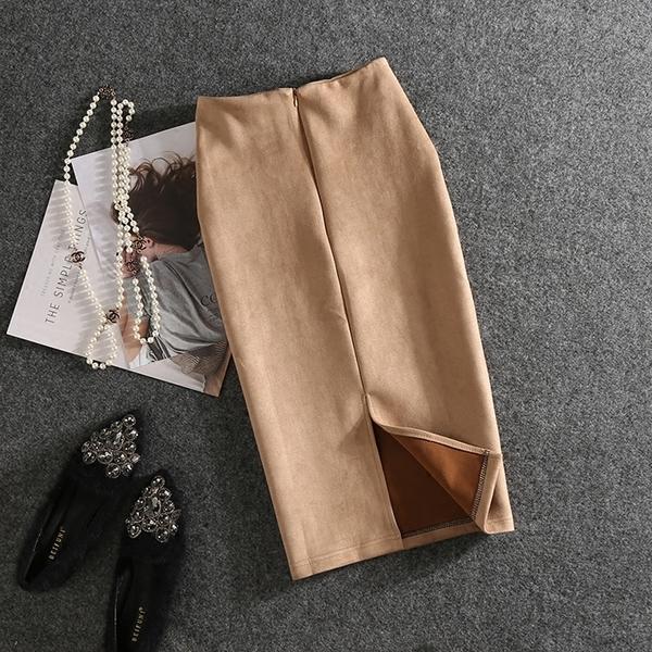 窄裙 春季新款中長款後開叉包臀顯瘦拉鏈半身裙子女士純色鉛筆職業2021 歐歐