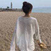 韓版純色顯瘦微透防曬衣長袖襯衫女寬松空調衫上衣【時尚大衣櫥】