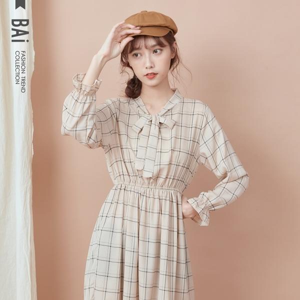 長洋裝 格子縮腰蝶結綁帶立領微透肌連身裙-BAi白媽媽【190967】
