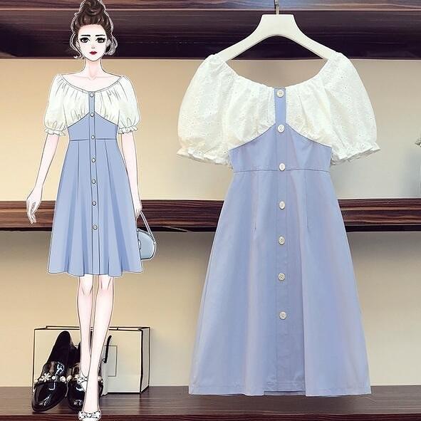 洋裝 連身裙 中大尺碼L-4XL新款時尚遮肚子收腰法式桔梗氣質連衣裙4F093-3708.胖胖唯依