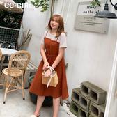 中大尺碼 假兩件式條紋拼接洋裝~共兩色 - 適XL~5L《 68423HH 》CC-GIRL