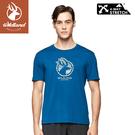 【Wildland 荒野 男 彈性LOGO印花圓領上衣《土耳其藍》】0A81606/短袖/圓領T/運動衣/休閒衫