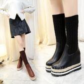 韓版中筒靴 女靴子 時尚襪靴松糕鞋厚底彈力靴 單鞋
