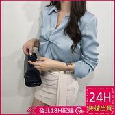 梨卡★現貨 - 氣質性感緞面雪紡OL扭結寬鬆顯瘦舒適襯衫上衣BR184