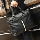 手提包男牛皮單肩斜背包時尚休閒商務公文包旅行包電腦包 檸檬衣舍