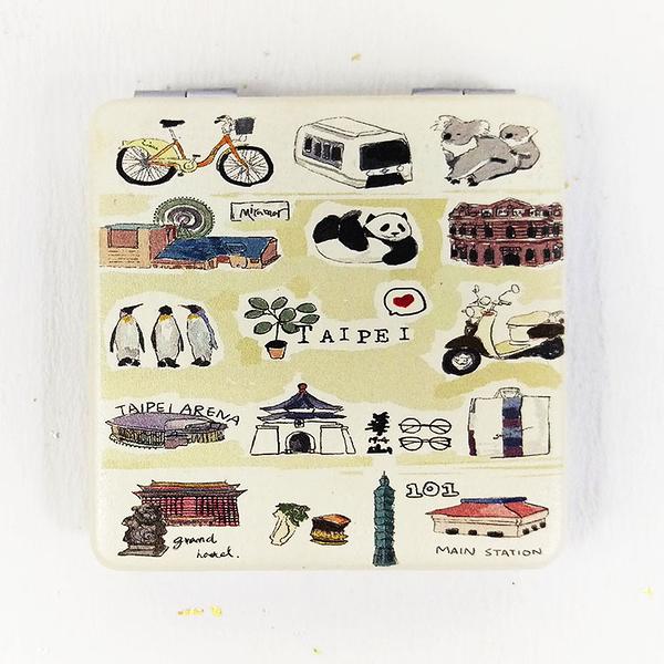 【收藏天地】台灣紀念品*雙面隨身鏡-Taipei x post card /小物 送禮 文創 風景 觀光  禮品