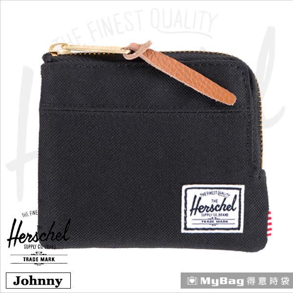 Herschel 皮夾 / 零錢包 Johnny-001 黑色 經典拉鍊零錢包 MyBag得意時袋