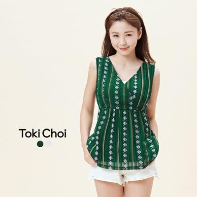 東京著衣-腰部綁帶印花無袖長版上衣-XS.S.M(6016073)