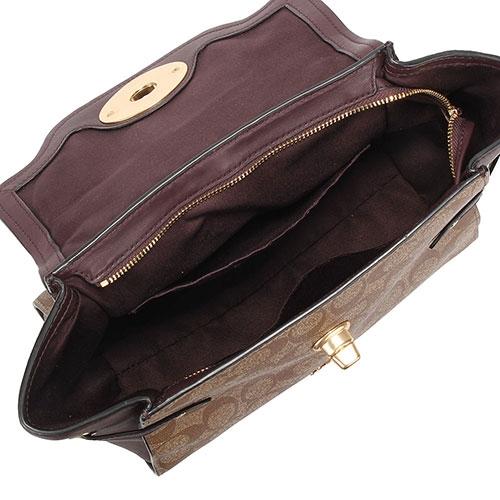 COACH BLAKE 經典LOGO PVC拼接皮革復古旋扣手提斜背兩用包(酒紅/咖色)197255
