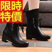 真皮短靴-耀眼清新獨特低跟女靴子3色62d90【巴黎精品】