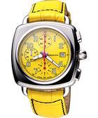 AEROWATCH Coussin 復刻經典計時腕錶-黃 A61912AA07