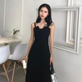 新款夏季小黑裙時尚氣質露肩高腰修身復古吊帶裙中 伊蒂斯女裝