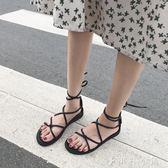 韓國百搭女學生交叉綁帶平底鞋圓頭涼鞋羅馬鞋女鞋沙灘鞋 伊鞋本鋪