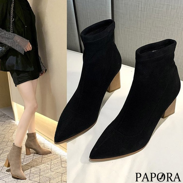 PAPORA顯瘦絨面中筒靴短靴KK4438 黑色/卡色