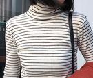EASON SHOP(GU4423)條紋高領圓領坑條長袖針織衫T恤內搭衫女上衣服素色秋冬裝韓版彈力貼身保暖磨毛