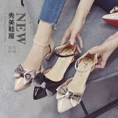 涼鞋新款尖頭中低跟蝴蝶結百搭夏季涼鞋女鞋前后絆帶包頭休閑時尚 印象部落