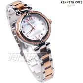 Kenneth Cole 異國風情 羅馬時刻 珍珠母貝面盤 鋼索設計 女錶 不銹鋼 玫瑰金 KC50980003