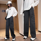 S-6XL大碼牛仔長褲~流行牛仔褲女嘻哈高腰寬松闊腿褲通勤大碼女裝230斤1520.1F039愛尚布衣