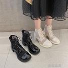短靴高跟鞋涼靴女時尚漆皮透氣鏤空網紗短靴高跟鞋日系小皮靴粗跟馬丁靴子【 【全館免運】】