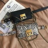 迷你包ins復古蛇皮紋小腰包女皮帶2020新款錬條原創迷你腰包手機包包潮 JUST M
