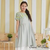 【Tiara Tiara】亮麗黃玫瑰印花圖騰短袖洋裝(灰綠)
