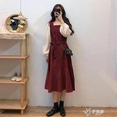 長袖洋裝 秋季裙子女2020新款中長款收腰復古設計感氣質紅色方領長袖 【快速出貨】