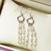 【喨喨飾品】彩珠珍珠色流蘇式耳環 流行飾品 S38