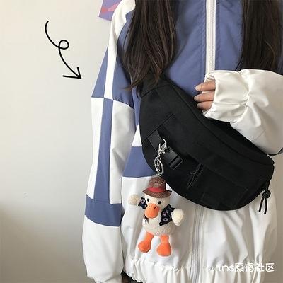 韓國ins帆布包女胸包男日系韓版原宿百搭腰包工裝學生斜挎包潮