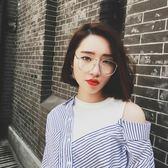【優選】復古金色細框平光眼鏡大框蛤蟆鏡