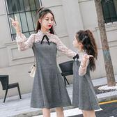 蝴蝶結親子裝母女裝蕾絲呢子連身裙寬鬆腰甜美秋冬打底裙公主裙