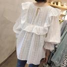 荷葉邊上衣 2021春夏新款鏤空刺繡寬鬆洋氣上衣荷葉邊白襯衫氣質娃娃蕾絲衫女 寶貝寶貝計畫 上新