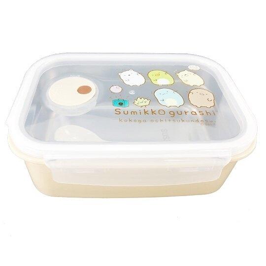小禮堂 角落生物 方形不鏽鋼隔熱便當盒 隔熱餐盒 保鮮盒 附湯匙 850ml (黃 體操) 4718733-25122
