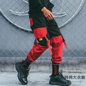 工裝褲男寬松多口袋束腳褲潮流hiphop嘻哈褲子潮褲【時尚大衣櫥】