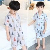 兒童睡衣 夏季薄款男童家居服棉質小孩夏天短袖男孩空調服 YN432『寶貝兒童裝』